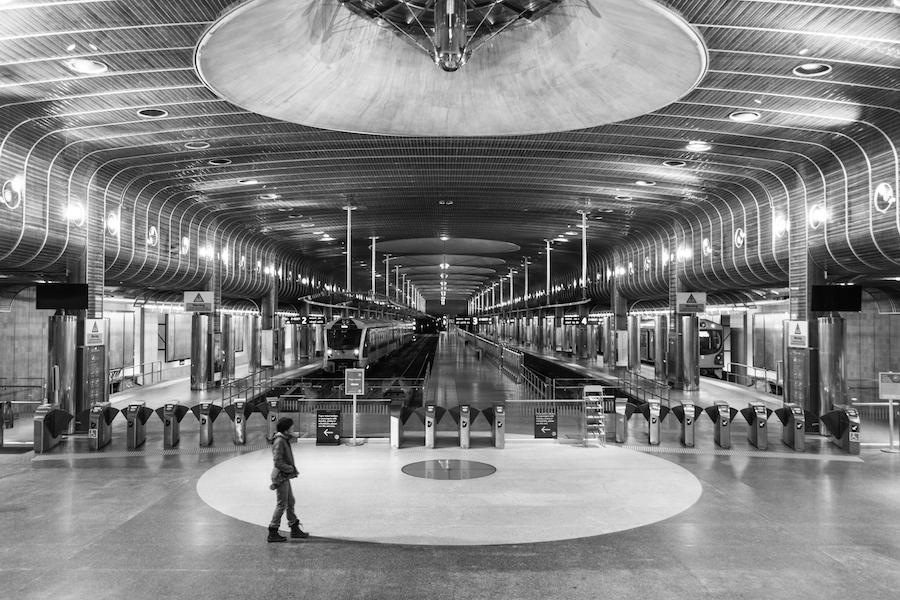 La gare d'Auckland by night