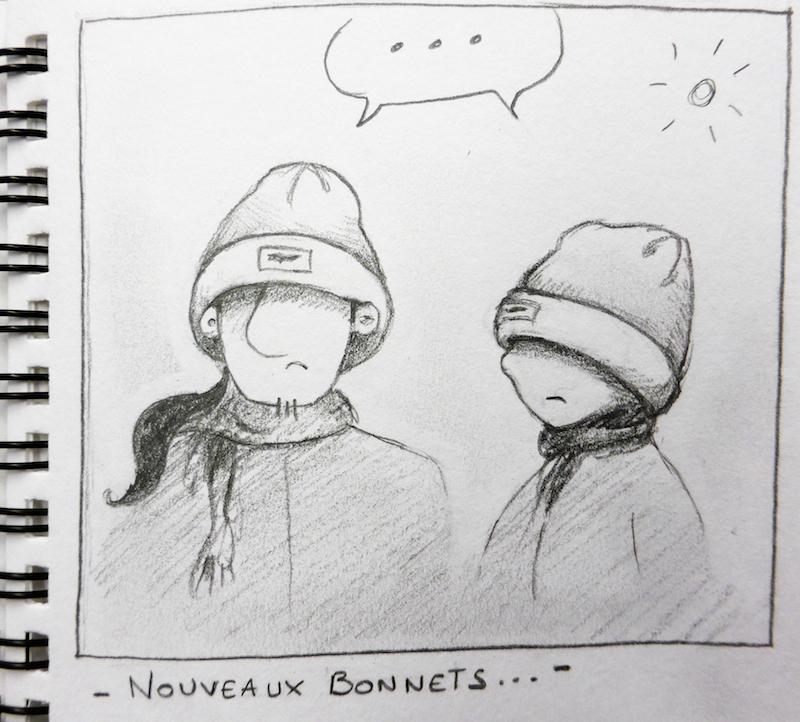 Voilà ce qui arrive lorsqu'on achète tous les deux le même bonnet, sans l'essayer...