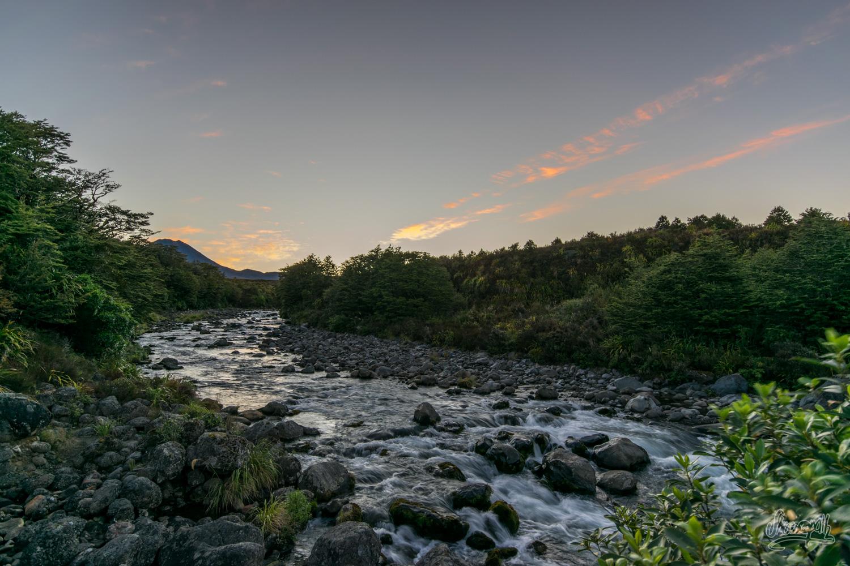 Lever de soleil sur les Mahuia Rapids en plein Tongariro
