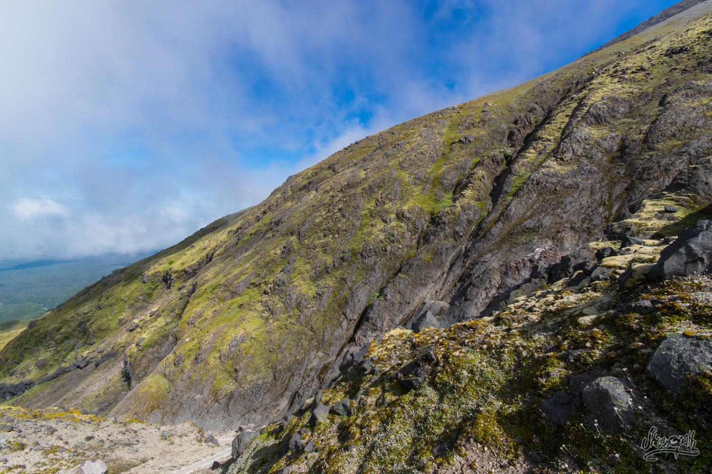 En redescendant du sommet du mont Taranaki