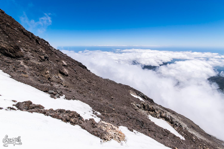 En arrivant au sommet du mont Taranaki