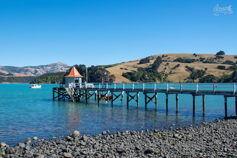Le petit port d'Akaroa (Photo par Mariette)