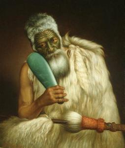 Wiremu Kingi, le chef de la tribu des Te Āti Awa tenant un mere (massue) de jade (peinture par Gottfried Lindauer)