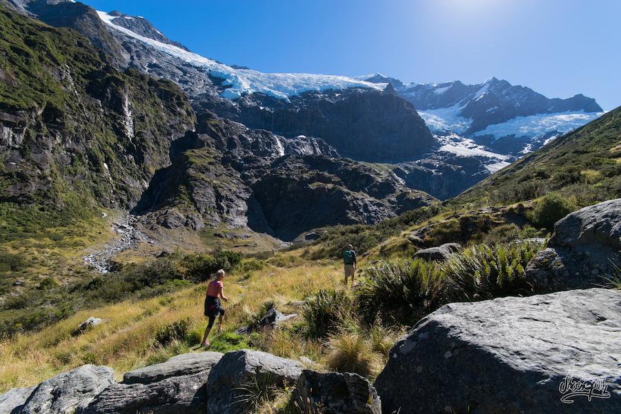 Arrivés Au Bout De La Piste, Vue Sur Le Rob Roy Glacier