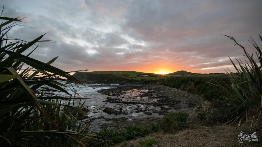 Coucher de soleil sur les Catlins (Photo par Mariette)