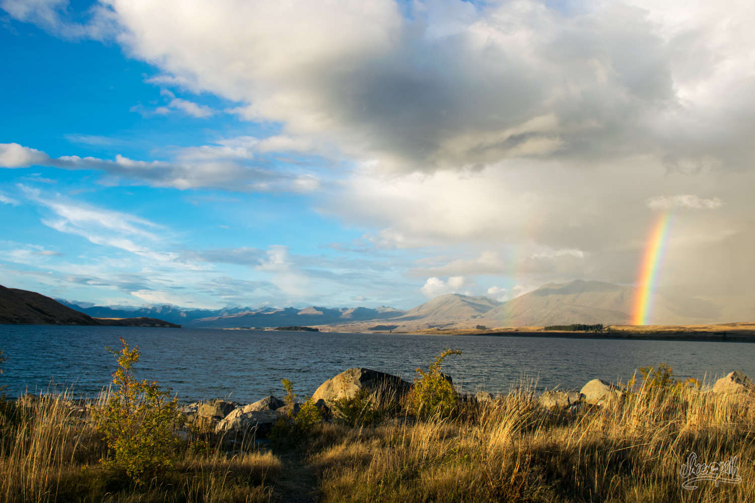 View on Lake Tekapo from our tente, just after a storm