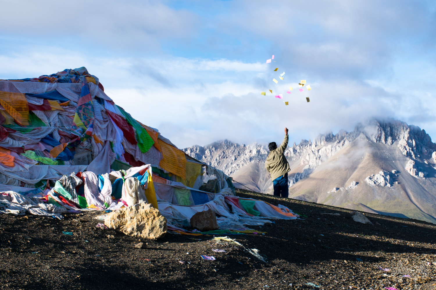 Prayers on an Himalayan pass