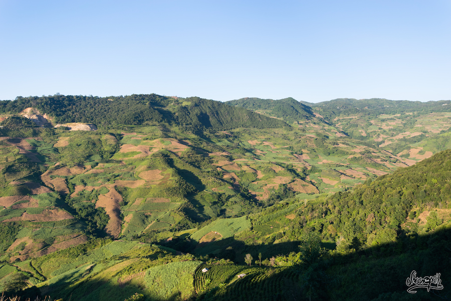 Lumière de fin d'après midi sur une vallée du Xishuangbanna