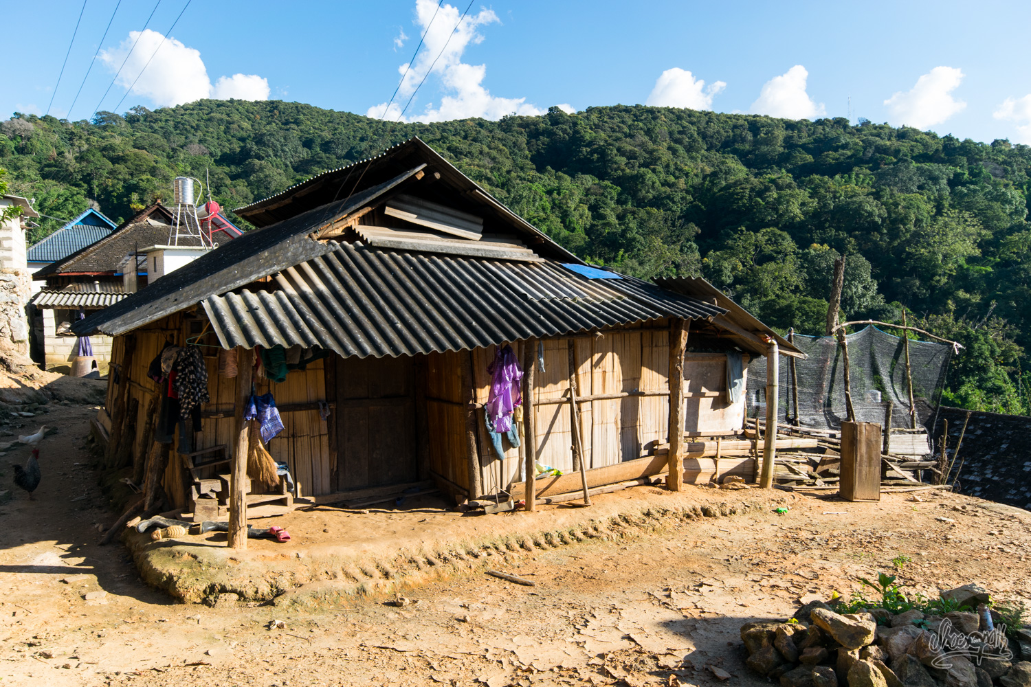 An old bamboo made house in Zhang Lang village in Xishuangbanna