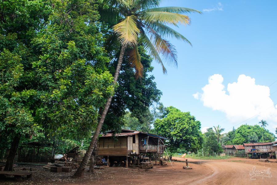 Photo de rue typique d'un petit village du plateau des Bolavens