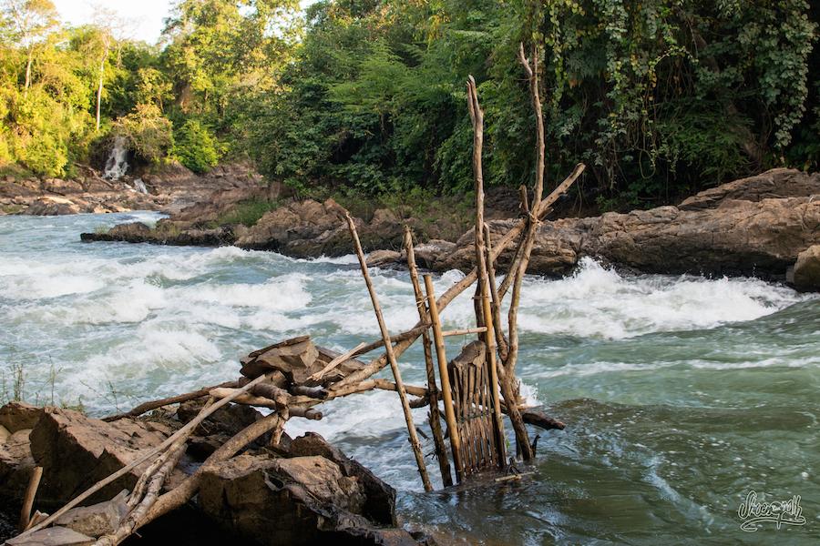 Petit Piège à Poisson Des Pêcheurs Du Mékong