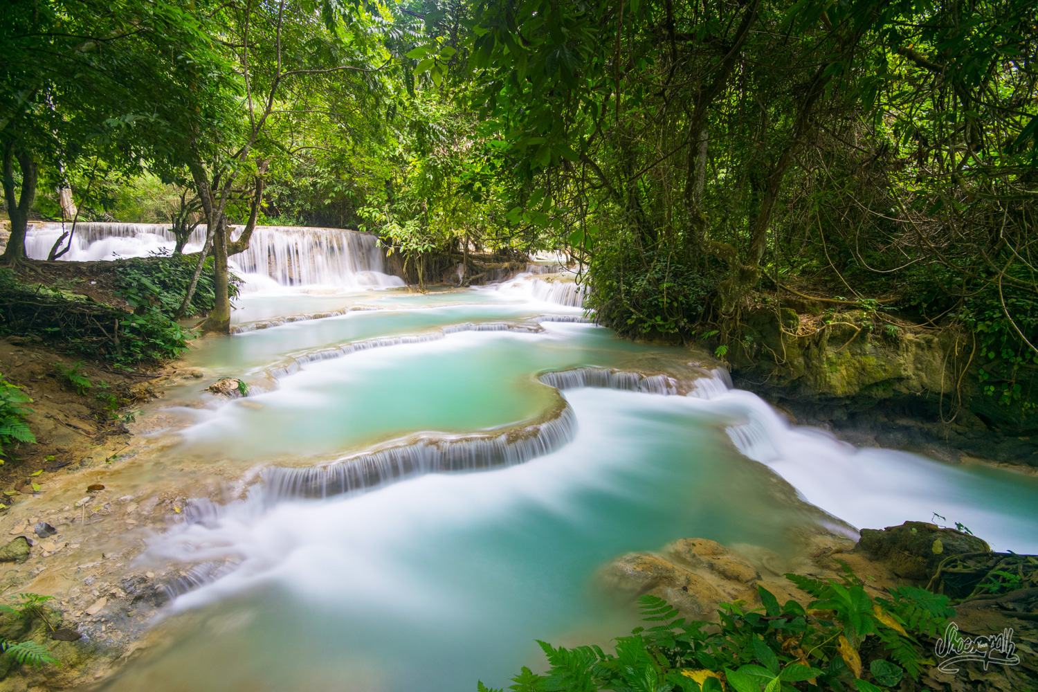 One of the little waterfalls along the river in Kuang Si