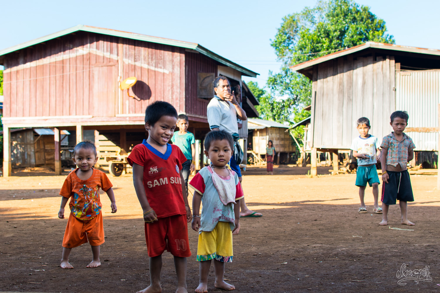 A gang of kids from a little village of the Bolaven plateau