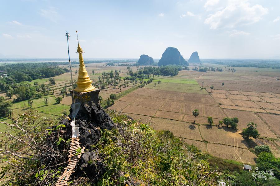 En haut de Kaw Goon Cave, vue, sur la région de Hpa An