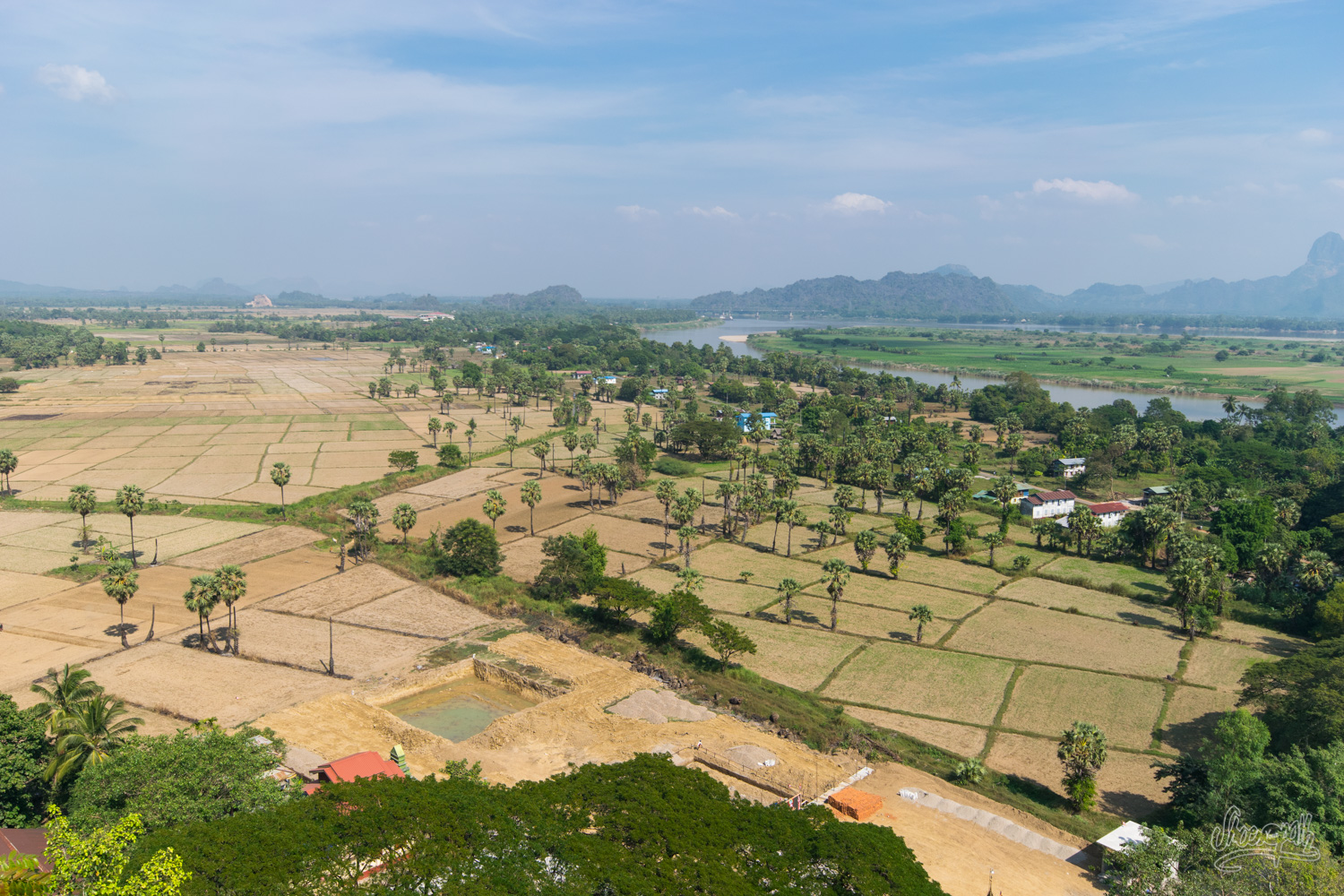 Panoramic view over Hpa An region, from the top of Kaw Goon Cave