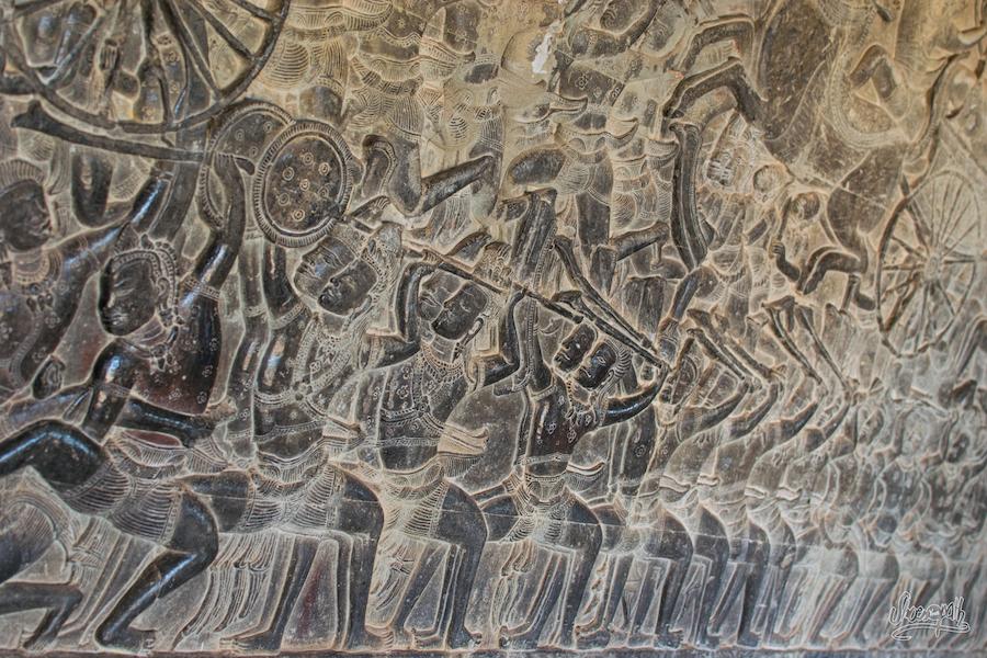 Bas Reliefs De La Fresque D'Angkor Wat