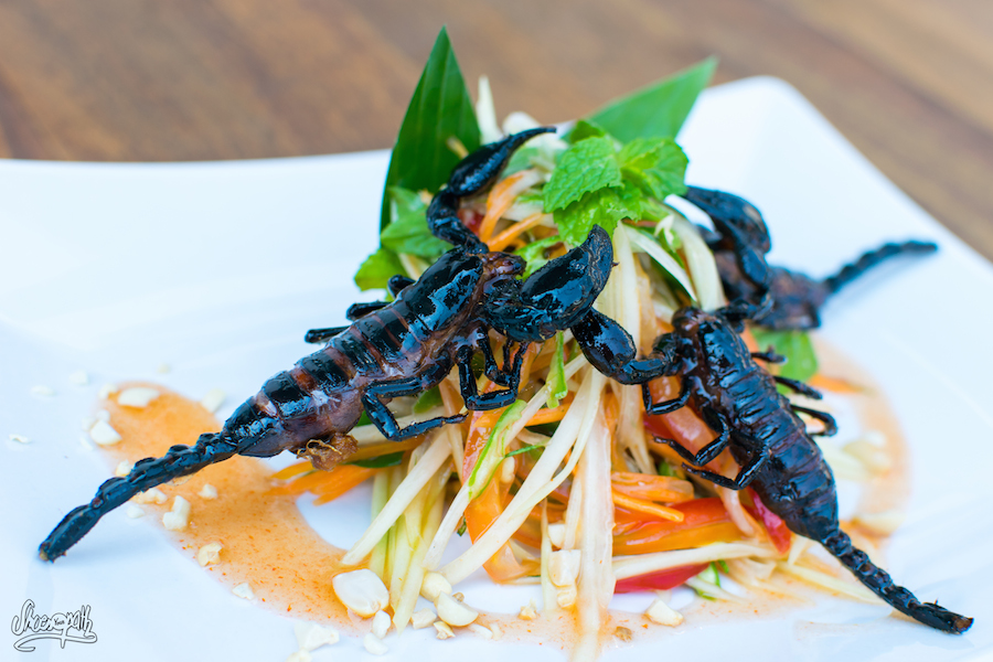 La salade de papaye épicée aux scorpions du Bugs Café