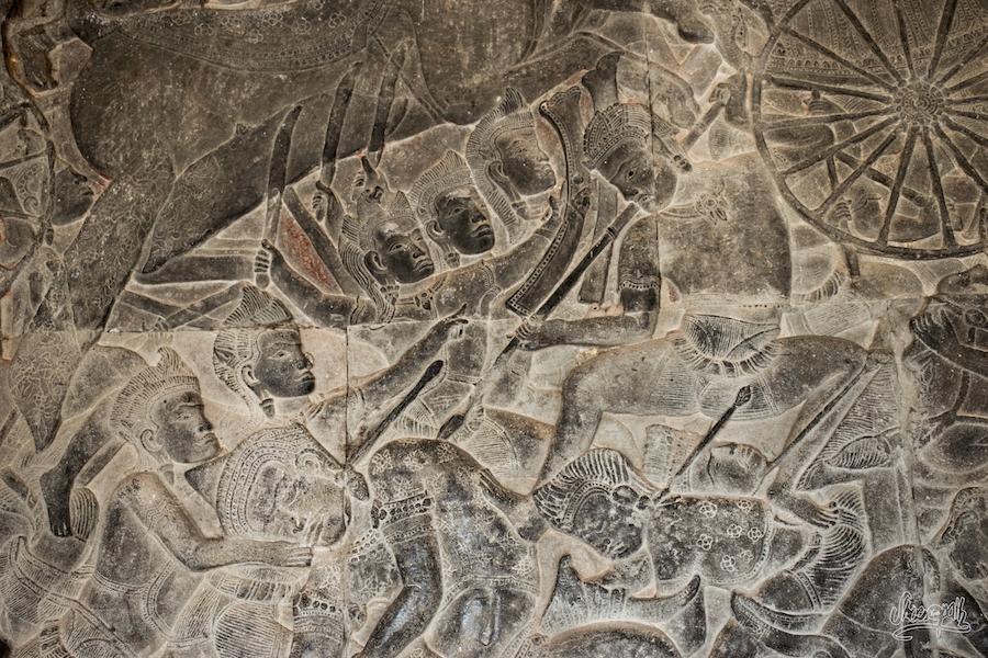 La Grande Fresque De Bas Reliefs à Angkor Wat