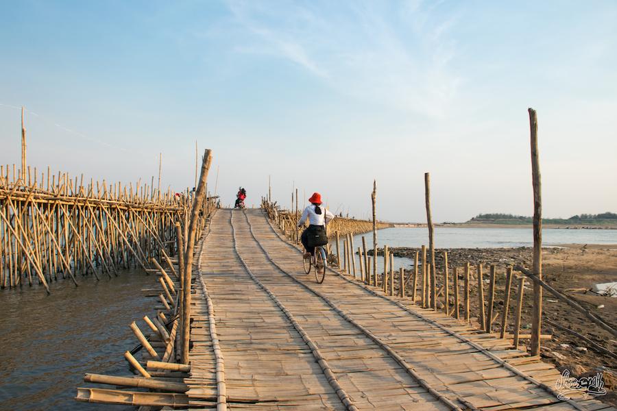 Le pont de bambou de Kampong Cham