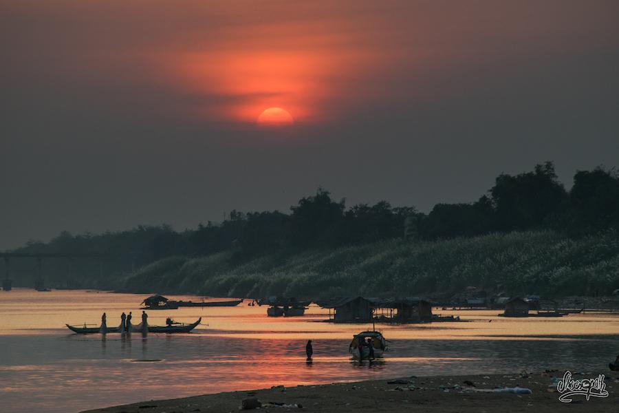 Coucher de soleil à Kampong Cham