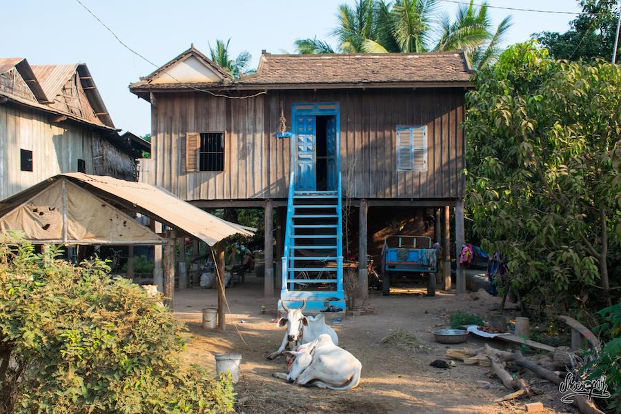 Maison Classique Des Bords De Mékong Au Cambodge