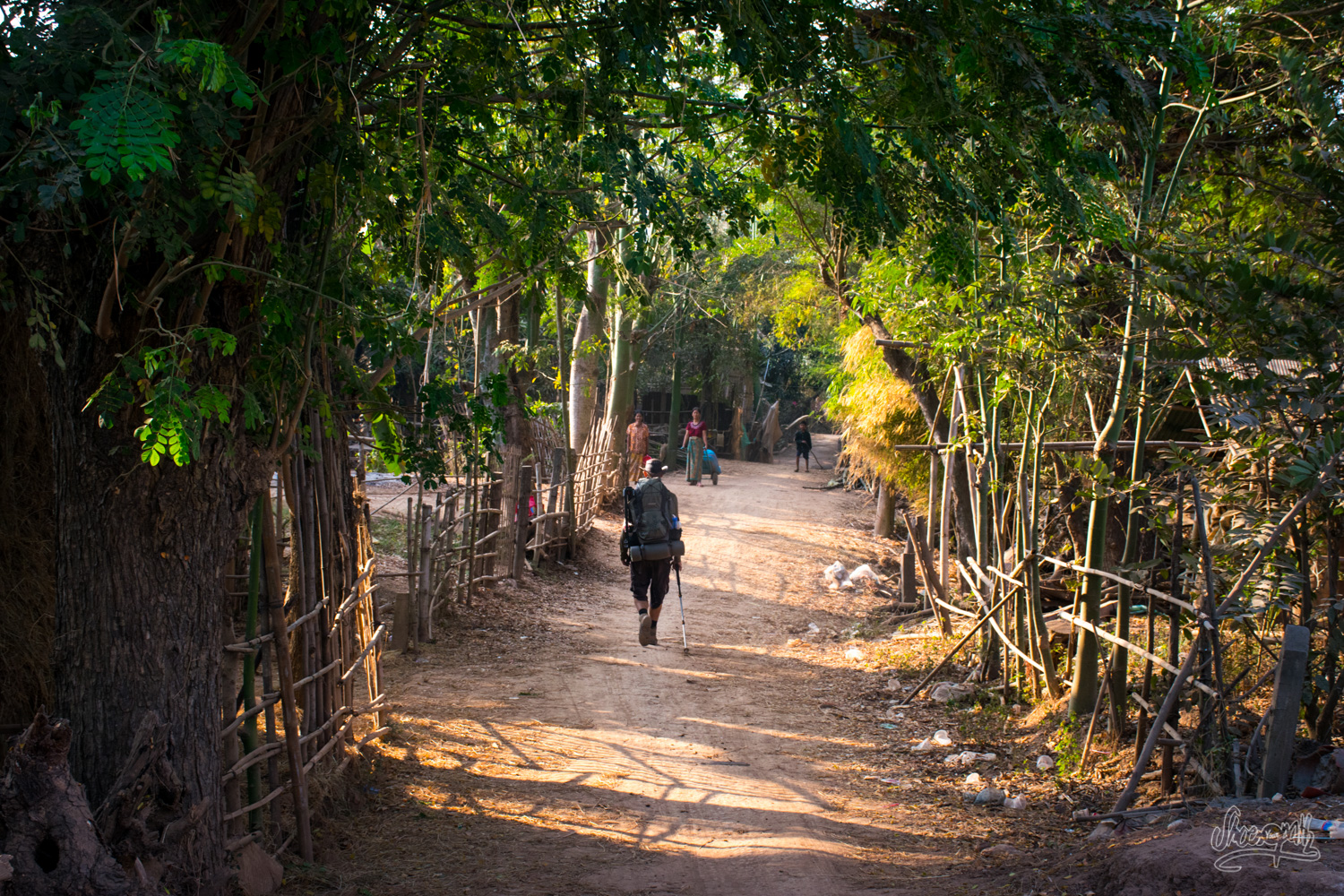 Quentin, early morning on our little track along the Mekong