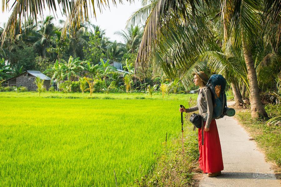 Petite pause au soleil pour admirer la mer de riz verte