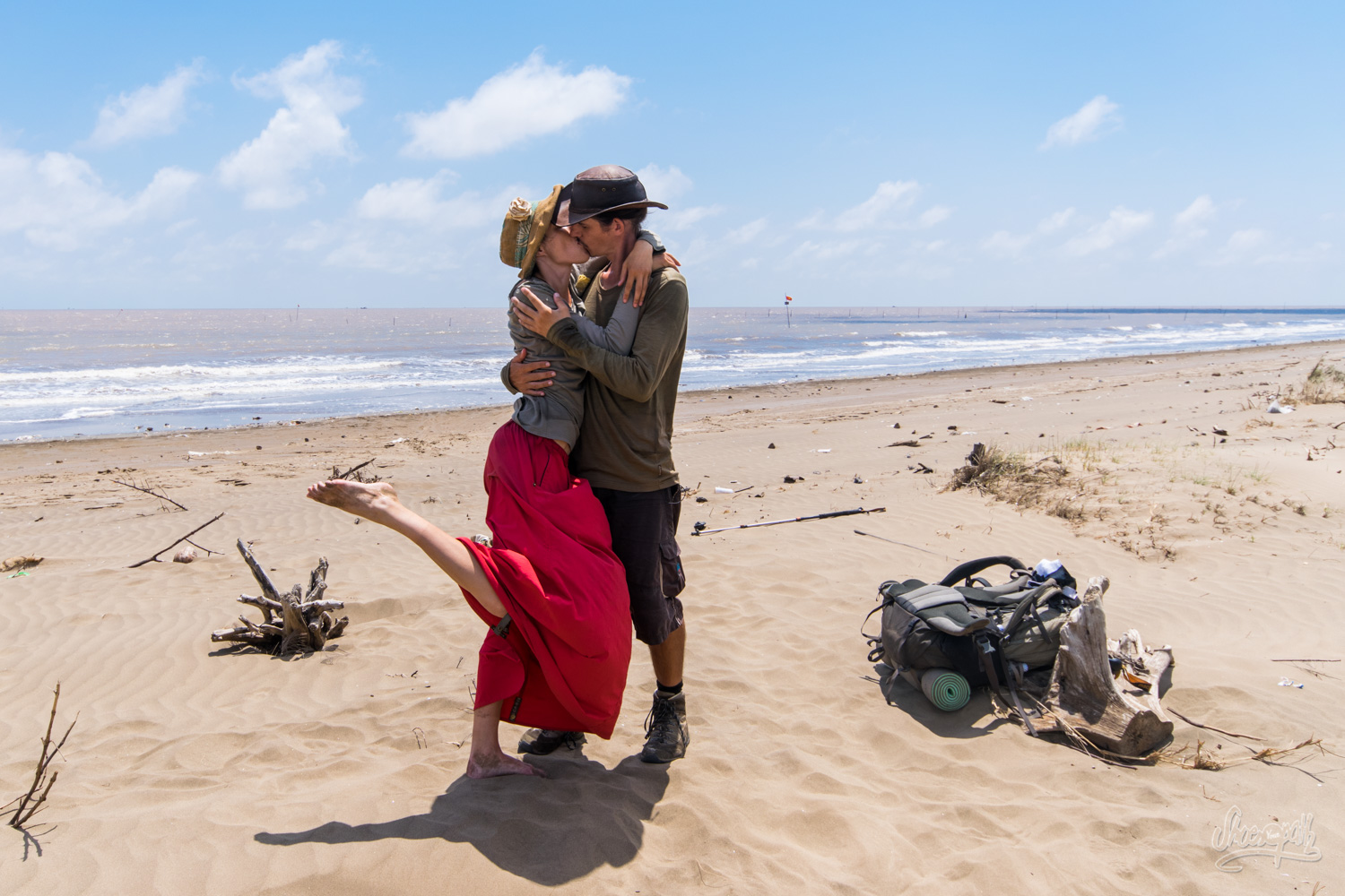 The final kiss, at the mouth of the Mekong, after 7 month walking on its banks