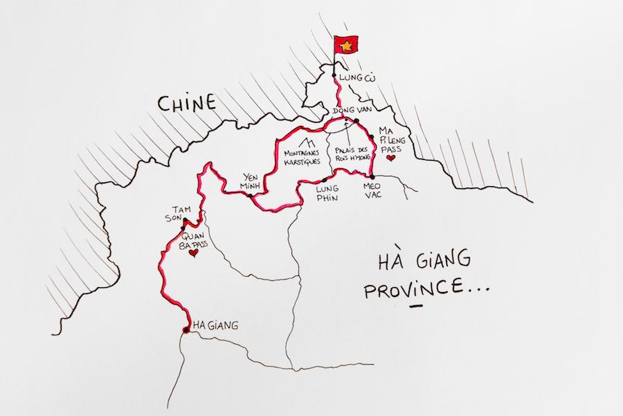 Vietnam – La Région D'Ha Giang En Moto – Itinéraire Et Carte