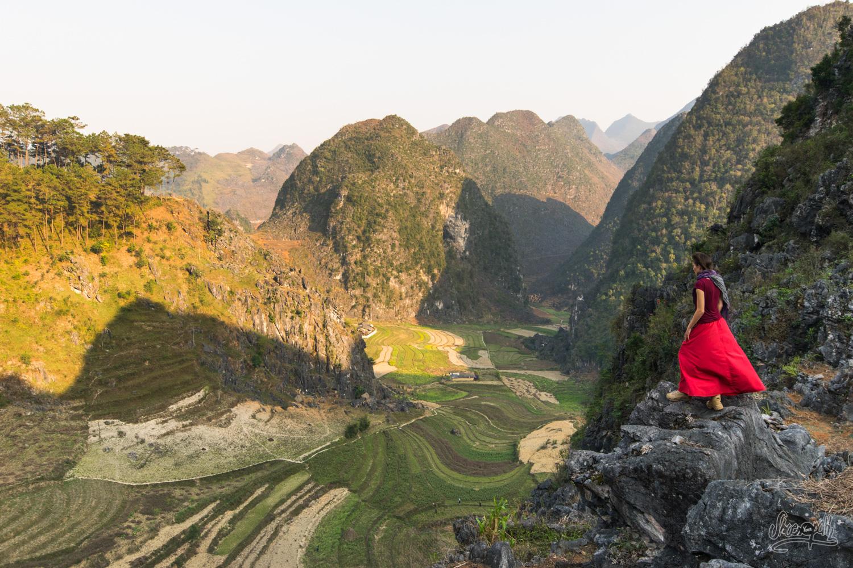 Contemplation des rizières de la vallée depuis les montagnes de Ha Giang