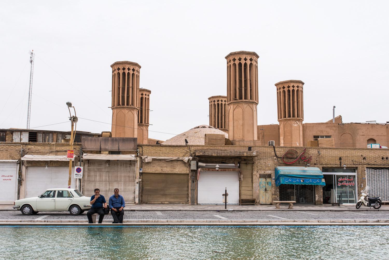 Les tours de badgir près du complexe Amir Chakhmaq de Yazd