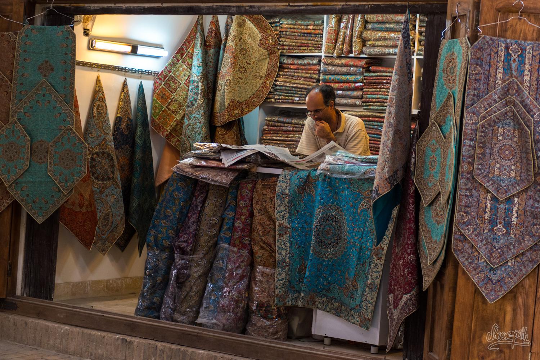 Echoppe de Termeh dans le bazar de Yazd