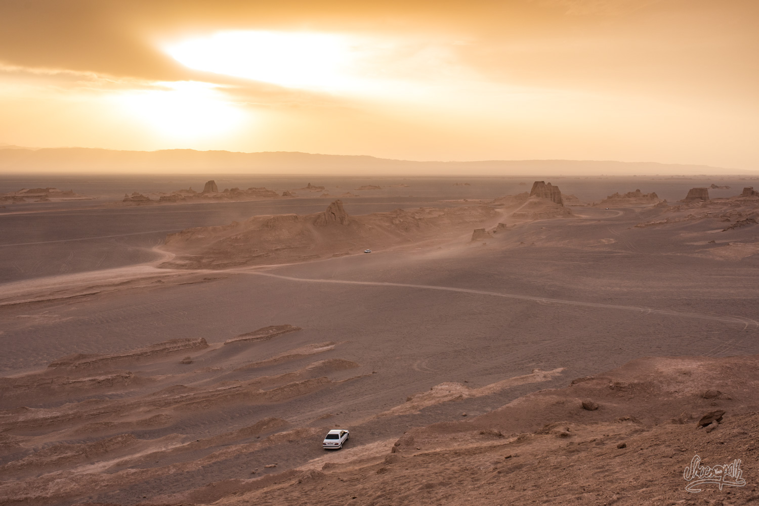 Sunset over the kalut in Lut desert, near Kerman