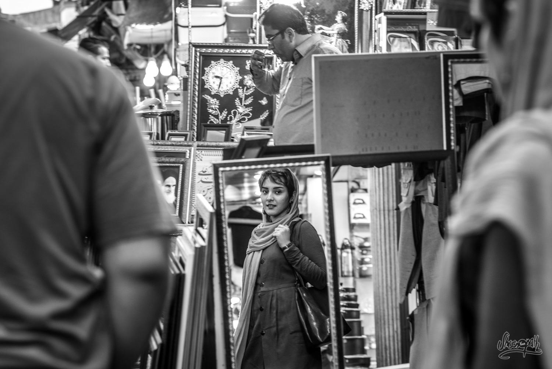 Portrait de rue de notre amie Narmin, dans le bazar de Rasht