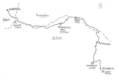 Peaks of the Balkans - Map - Doberdöl to Milishevc