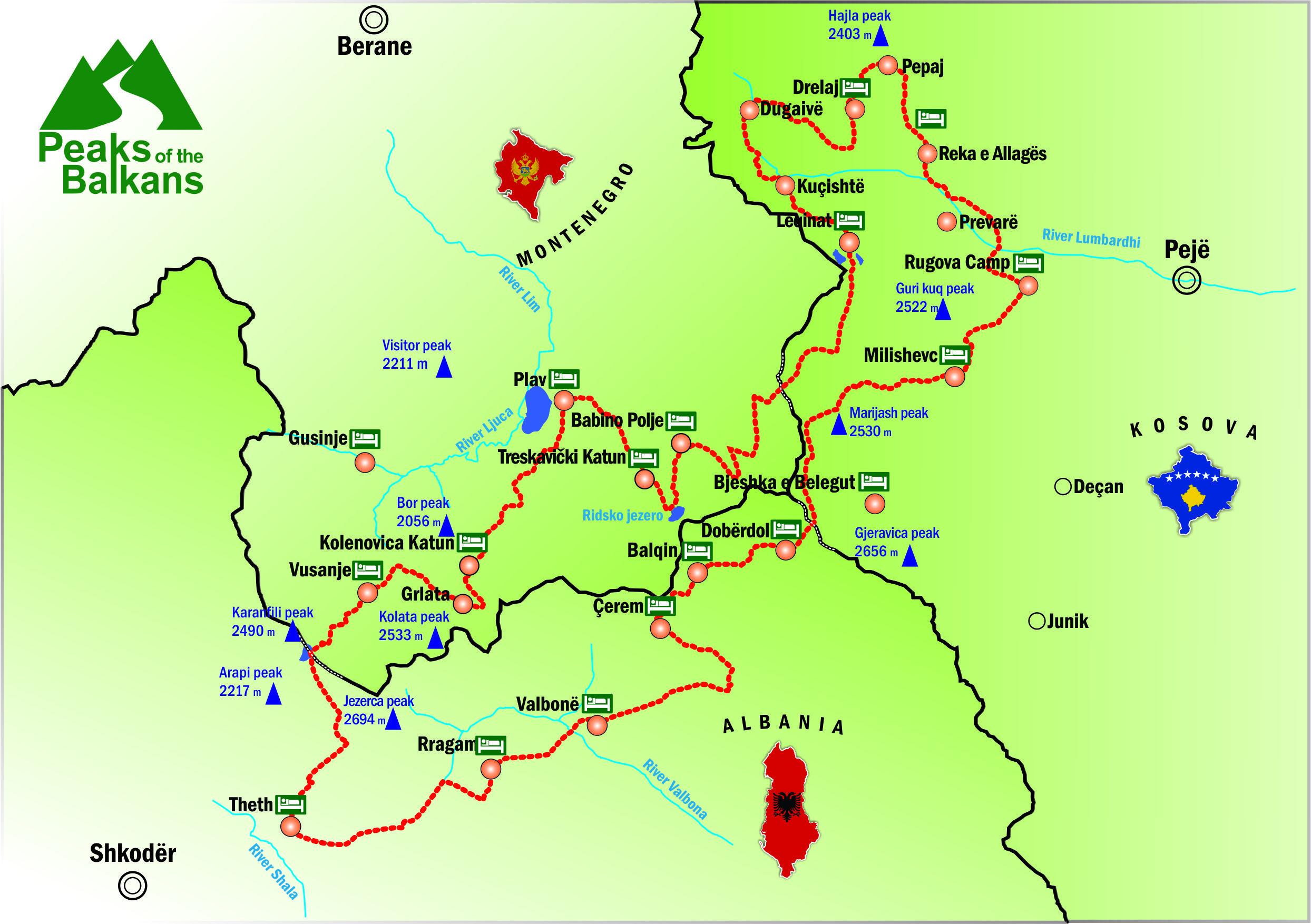 Peaks of the Balkans Map - Carte