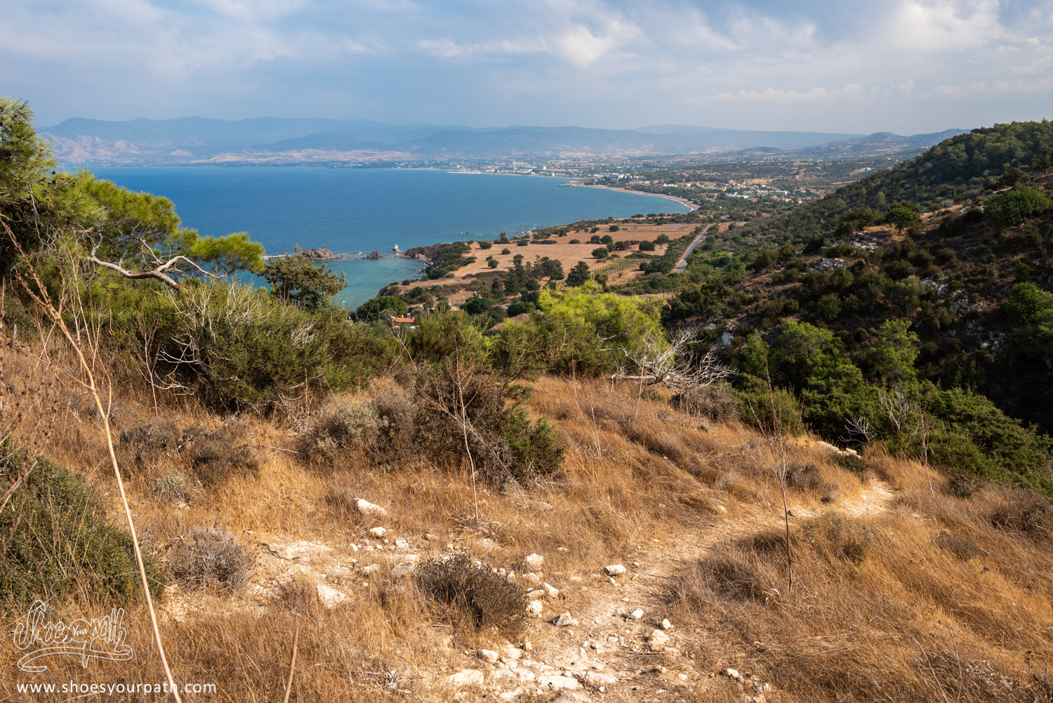 Hiking up on the Adonis Nature Trail, looking over the bay formed by the Akamas Peninsula