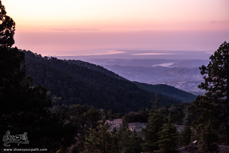 Sunrise over the Akrotiri peninsula from the Atalanti Nature Trail - Troodos, Cyprus