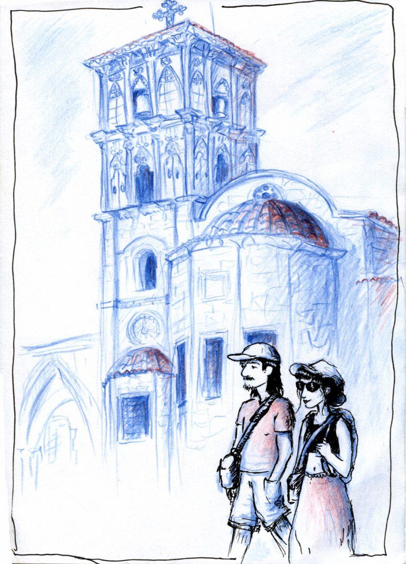 Dessin De Mariette, Crayon De Couleur Bleu Et Rouge + Stylo Bic : église Saint Lazarus De Larnaca - Chypre