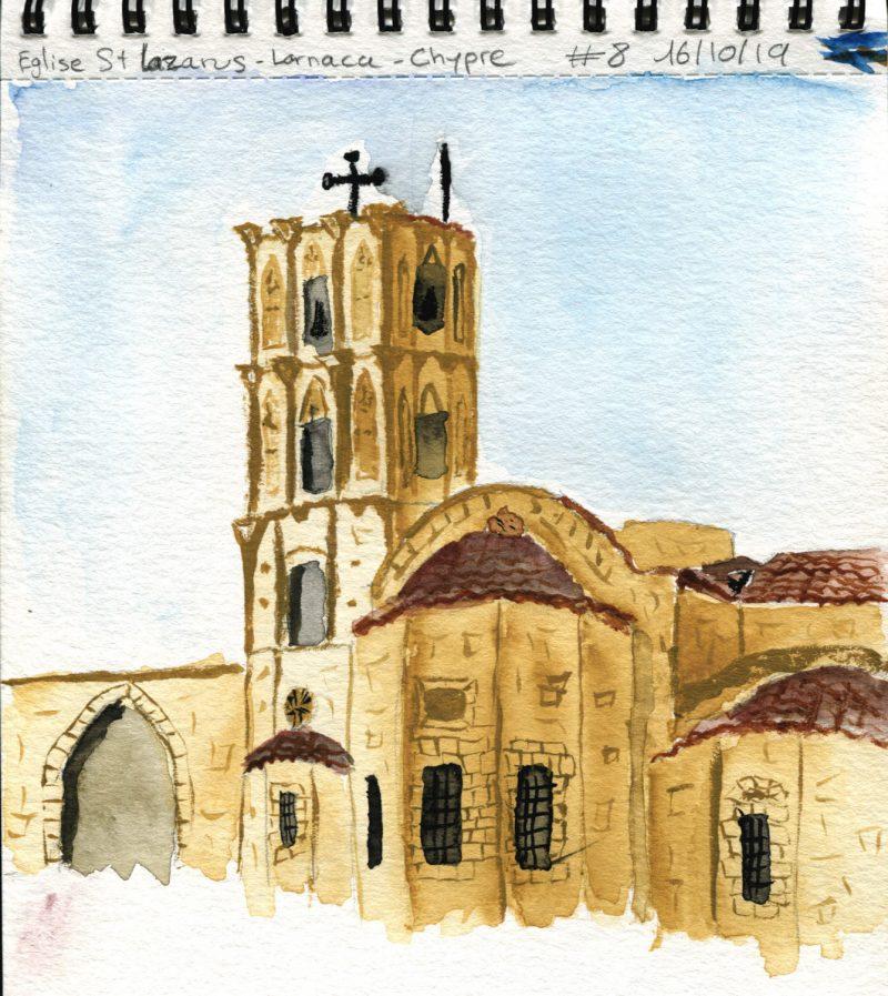 Aquarelle #8 De Quentin : L'église Saint Lazarus De Larnaca - Chypre.