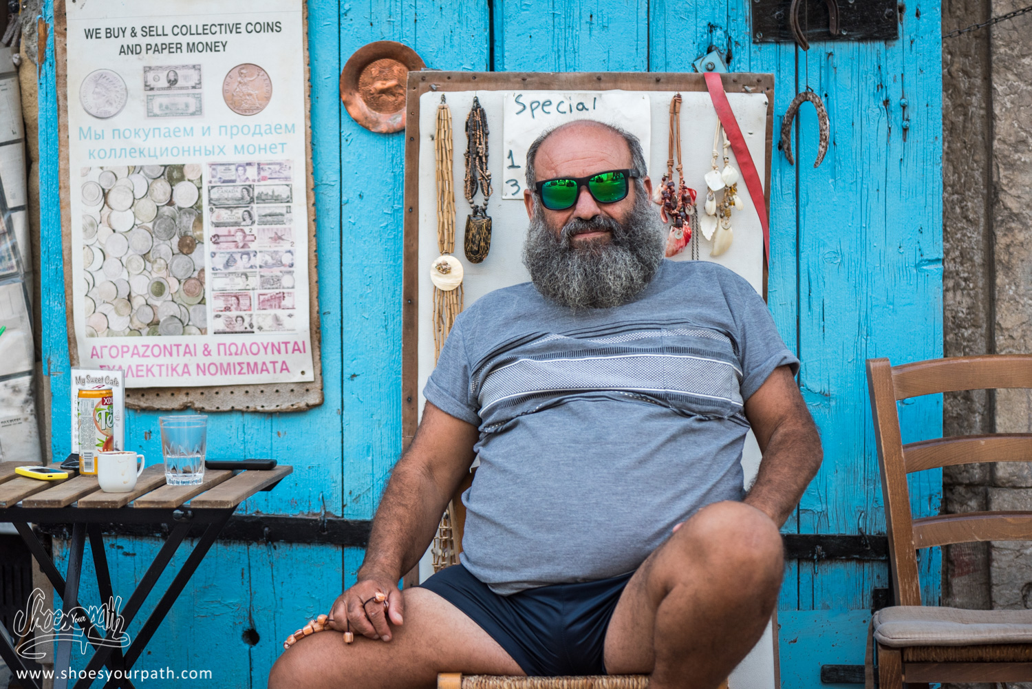 Picture of a cypriot, posing with Quentin's sunglasses