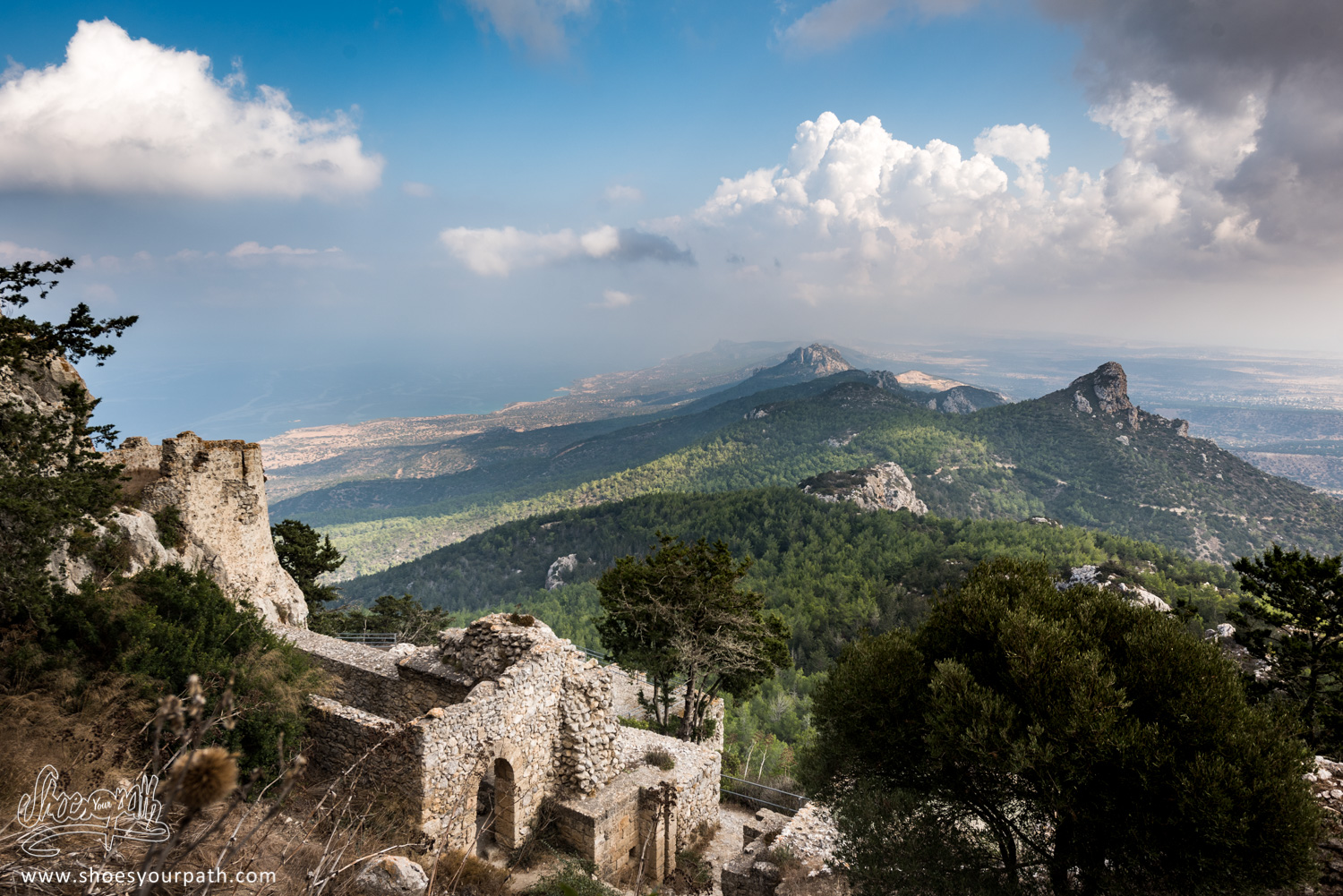 View over the Kyrenia mountains and the Karpas peninsula from Kantara castle