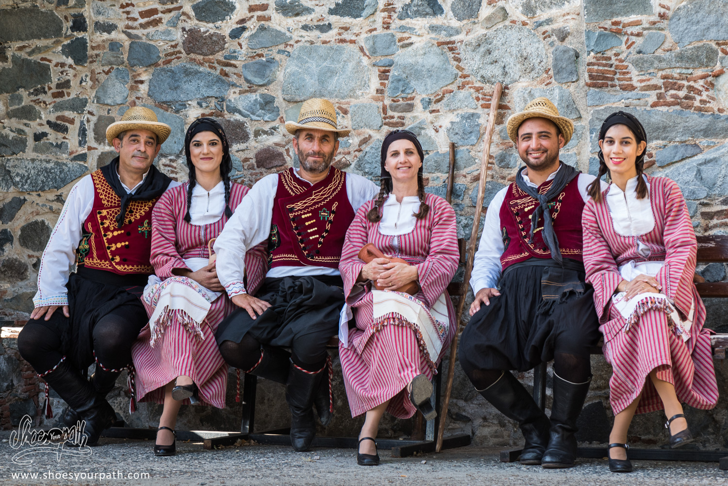 Couples of dancers in their traditional outfits for the apple festival of Kyperounta - Cyprus