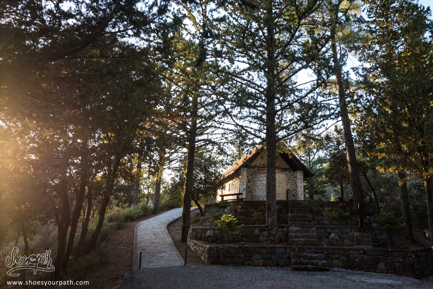 Sunset on the Holy Cross chapel in Stavros Tis Psokas inside the Paphos forest - Cyprus