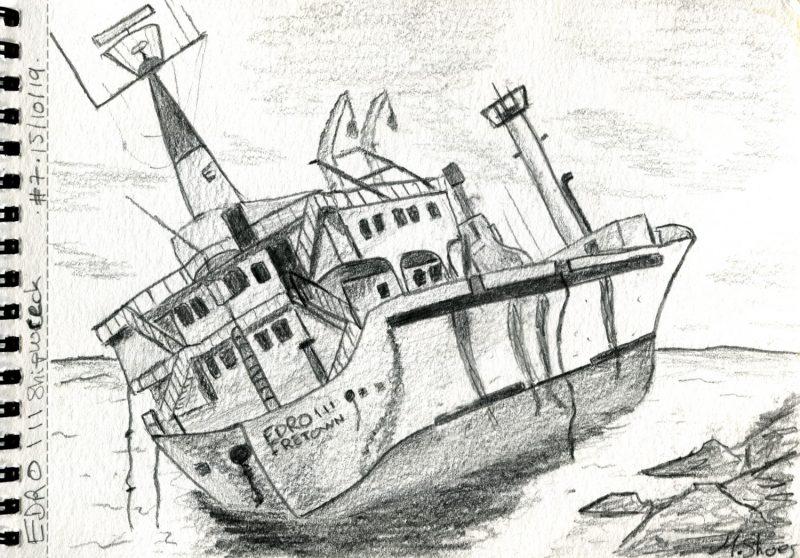 Le Croquis De L'épave Du Edros III Au Crayon à Papier, Par Quentin