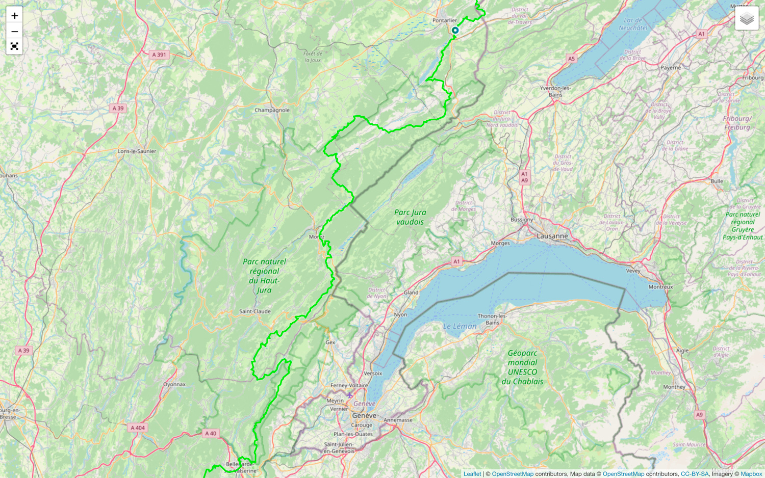 The map of the GR509 from Pontarlier to Bellegarde-sur-Valserine. Source : https://www.gtj.asso.fr/en/routes-and-activites/gtj-hiking-route/